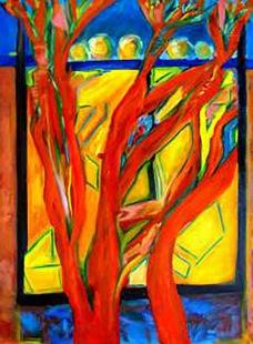 Red Trees Dancing, Oil on Canvas Rose Marie Sharp de Mercado, Artist